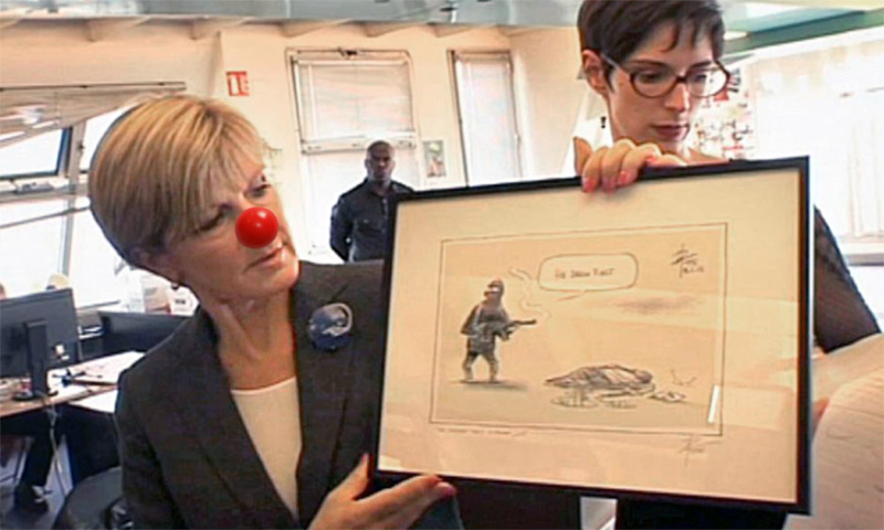 Bishop takes political satire to the next level at Charlie Hebdo offices